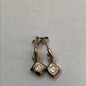 Silver diamond shaped dangle earrings